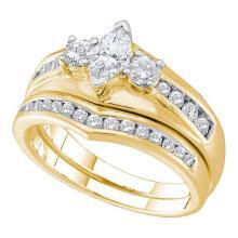 14K Yellow Gold Jewelry 0.50 ctw Diamond Bridal Ring Set - GD#39177 - REF#N72Y1