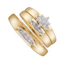 10K Yellow Gold Jewelry 0.10 ctw Diamond Trio Ring Set - GD#9989 - REF#F14X5