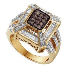 14K Yellow Gold Jewelry 0.88 ctw White Diamond & Cognac Diamond Ladies Ring - GD#51960 - REF#V80T5