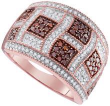 10K Rose Gold Jewelry 0.80 ctw White Diamond & Cognac Diamond Ladies Ring - GD#95141 - REF#U54K1