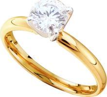 14K 2Tone Gold Jewelry 0.20 ctw Diamond Solitaire Ring - GD#13063 - REF#Z24W1