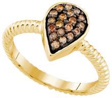 10K Yellow Gold Jewelry 0.20 ctw White Diamond & Cognac Diamond Ladies Ring - GD#90497 - REF#K15M6