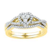 10K Yellow Gold Jewelry 0.38 ctw Diamond Bridal Ring Set - GD#97297 - REF#H28N9