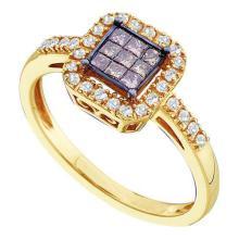 14K Yellow Gold Jewelry 0.33 ctw White Diamond & Cognac Diamond Ladies Ring - GD#47077 - REF#Y33H7