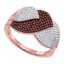 10K Rose Gold Jewelry 0.50 ctw White Diamond & Cognac Diamond Ladies Ring - GD#88350 - REF#H45N7