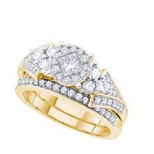 14K Yellow Gold Jewelry 0.93 ctw Diamond Bridal Ring Set - GD#52773 - REF#M105U7
