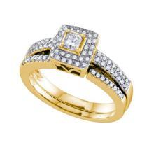 14K Yellow Gold Jewelry 0.50 ctw Diamond Bridal Ring Set - GD#70253 - REF#W72N1