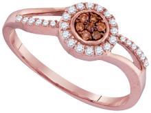 10K Rose Gold Jewelry 0.25 ctw White Diamond & Cognac Diamond Ladies Ring - GD#96503 - REF#H15N6