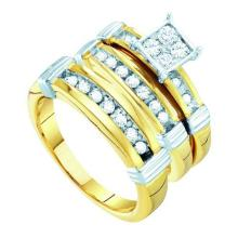10K Yellow Gold Jewelry 0.60 ctw Diamond Trio Ring Set - GD#56468 - REF#K57M6