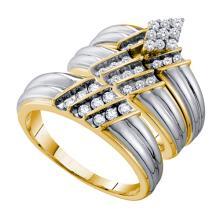 14K Yellow Gold Jewelry 0.74 ctw Diamond Trio Ring Set - GD#54942 - REF#F87X6