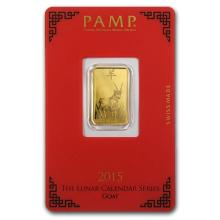 One 5 gram Gold Bar - Pamp Suisse Year of the Goat (In Assay) - WJA86051