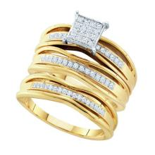10K Yellow Gold Jewelry 0.30 ctw Diamond Trio Ring Set - GD#51055