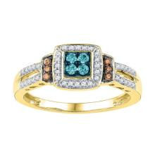 10K Yellow Gold Jewelry 0.25 ctw Multi-color Diamond Ladies Ring - GD#97212
