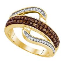 10K Yellow Gold Jewelry 0.33 ctw White Diamond & Cognac Diamond Ladies Ring - GD#87332