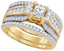 14K Yellow Gold Jewelry 1.5 ctw Diamond Bridal Ring Set - GD#73474