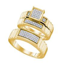 10K Yellow Gold Jewelry 0.30 ctw Diamond Trio Ring Set - GD#63576