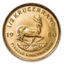 One 1980 South Africa 1/2 oz Gold Krugerrand - WJA88135