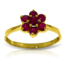 Genuine 0.66 ctw Ruby Ring Jewelry 14KT Yellow Gold - GG#2334