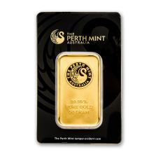 One 50 gram Gold Bar - Perth Mint (In Assay) - WJA78887