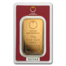 One 100 gram Gold Bar - Austrian Mint (In Assay) - WJA78380