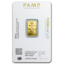 One 5 gram Gold Bar - Pamp Suisse Lady Fortuna Veriscan (In Assay) - WJA82247