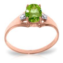 Genuine 0.76 ctw Peridot & Diamond Ring Jewelry 14KT Rose Gold - GG#4253