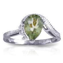 Genuine 1.52 ctw Green Amethyst & Diamond Ring Jewelry 14KT White Gold - GG#2983