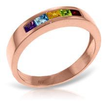 Genuine 0.6 ctw Multi-gemstones Ring Jewelry 14KT Rose Gold - GG#4017
