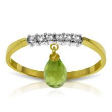 Genuine 1.45 ctw Peridot & Diamond Ring Jewelry 14KT Yellow Gold - GG#2854