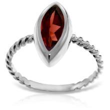 Genuine 2 ctw Garnet Ring Jewelry 14KT White Gold - GG#5438