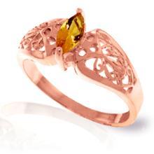 Genuine 0.2 ctw Citrine Ring Jewelry 14KT Rose Gold - GG#4615