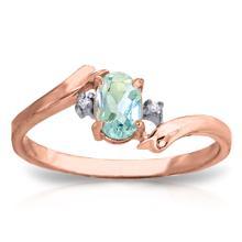 Genuine 0.46 ctw Aquamarine & Diamond Ring Jewelry 14KT Rose Gold - GG#3036
