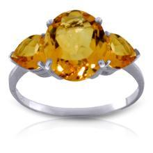 Genuine 3.5 ctw Citrine Ring Jewelry 14KT White Gold - GG#1646