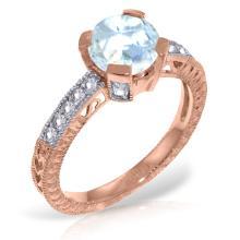 Genuine 1.80 ctw Aquamarine & Diamond Ring Jewelry 14KT Rose Gold - GG#3041
