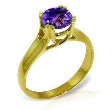 Genuine 1.1 ctw Amethyst Ring Jewelry 14KT Yellow Gold - GG#3156
