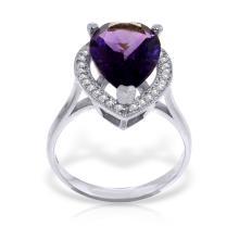 Genuine 3.41 ctw Amethyst & Diamond Ring Jewelry 14KT White Gold - GG#4868