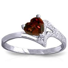 Genuine 0.9 ctw Garnet Ring Jewelry 14KT White Gold - GG#1023