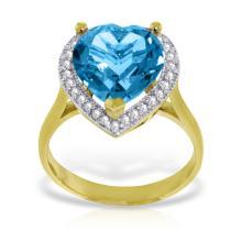Genuine 6.44 ctw Blue Topaz & Diamond Ring Jewelry 14KT Yellow Gold - GG#4876