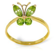 Genuine 0.6 ctw Peridot Ring Jewelry 14KT Yellow Gold - GG#2346