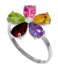 Genuine 2.22 ctw Pink Topaz, Citrine & Amethyst & Diamond Ring Jewelry 14KT White Gold - GG#3423