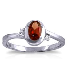 Genuine 0.51 ctw Garnet & Diamond Ring Jewelry 14KT White Gold - GG#1231