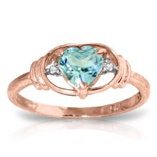 Genuine 0.96 ctw Blue Topaz & Diamond Ring Jewelry 14KT Rose Gold - GG#1207