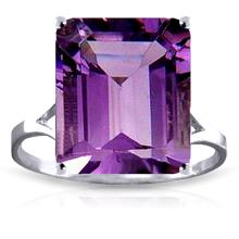 Genuine 6.5 ctw Amethyst Ring Jewelry 14KT White Gold - GG#1876