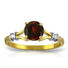 Genuine 1.07 ctw Garnet & Diamond Ring Jewelry 14KT Yellow Gold - GG#1194