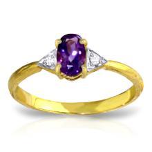 Genuine 0.46 ctw Amethyst & Diamond Ring Jewelry 14KT Yellow Gold - GG#1234