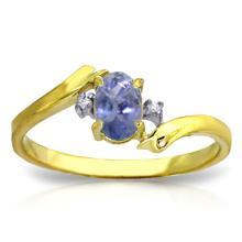 Genuine 0.46 ctw Tanzanite & Diamond Ring Jewelry 14KT Yellow Gold - GG#3037