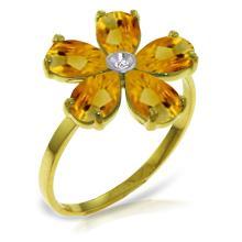 Genuine 2.22 ctw Citrine & Diamond Ring Jewelry 14KT Yellow Gold - GG#3415