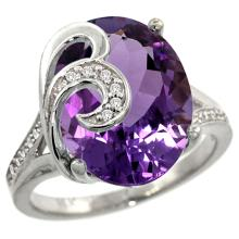 Natural 11.18 ctw amethyst & Diamond Engagement Ring 14K White Gold - SC#R292651W01