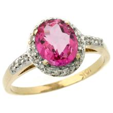 Natural 1.3 ctw Pink-topaz & Diamond Engagement Ring 14K Yellow Gold - SC#CY406137