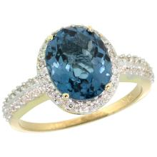 Natural 2.56 ctw London-blue-topaz & Diamond Engagement Ring 14K Yellow Gold - SC#CY405138